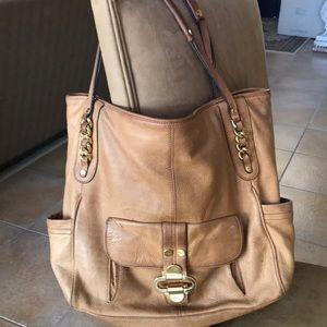 B Makowsky Leather Shoulder Hobo Bag